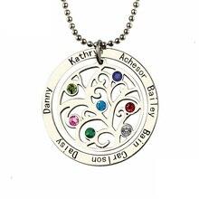 Xiaojing collar de árbol de la vida de Plata de Ley 925 personalizado, nombre de familia personalizado y piedra de nacimiento, joyería fina para regalo del Día de la madre