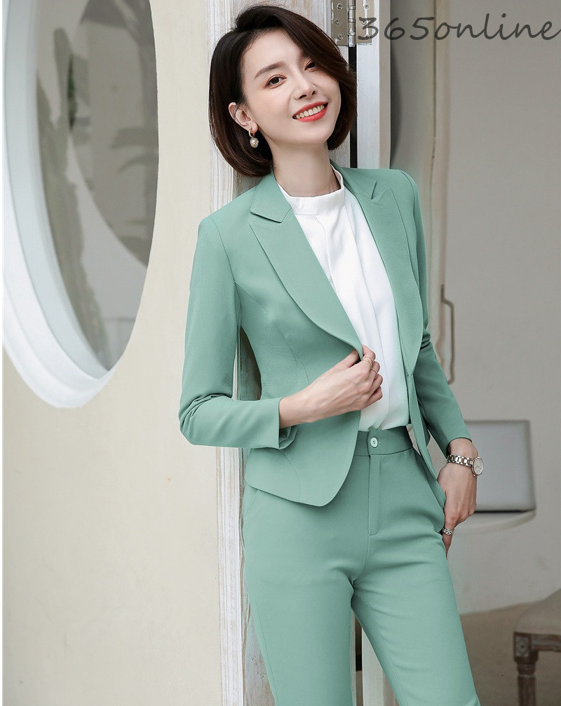 Fashion Green Ladies Office Work Wear Suits Formal Uniform Designs Pantsuits With Pants And Jackets Coat Professional Blazers
