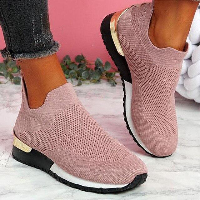 Tênis mulher vulcanizado sapatos senhoras cor sólida deslizamento-em tênis para o sexo feminino sapatos casuais calçados esportivos 2021 moda mujer 1