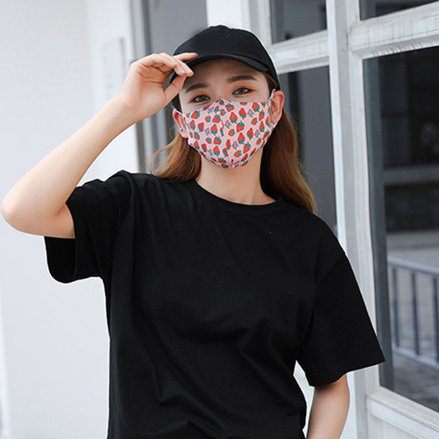 women Mouth Mask Breathable Cotton Fashion Black Reusable Face Pink Shield Wind Proof Flower Mouth Cover 4