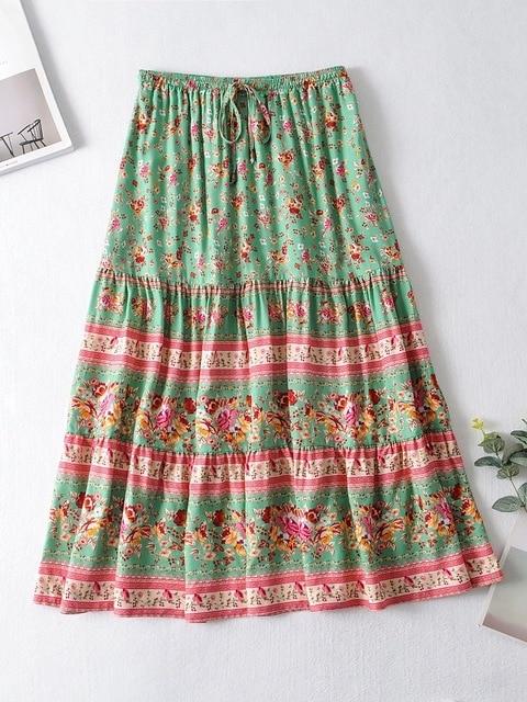 2020 BOHO Lacing up Collar Floral Print Pullover Shirt Women Elastic Waist Maxi Long Skirt Pink Holiday 2 Pieces Set 3