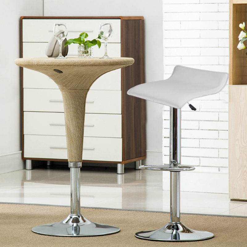 2pcs/set Leisure Soft Leather Swivel Bar Stools Chairs Pneumatic Adjustable Counter Pub Barstool Living Room Furniture HWC