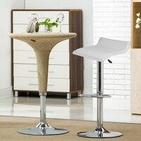 2pcs/set Leisure Soft Leather Swivel Bar Stools Chairs Pneumatic Adjustable Counter Pub Barstool Living Room Furniture HWC