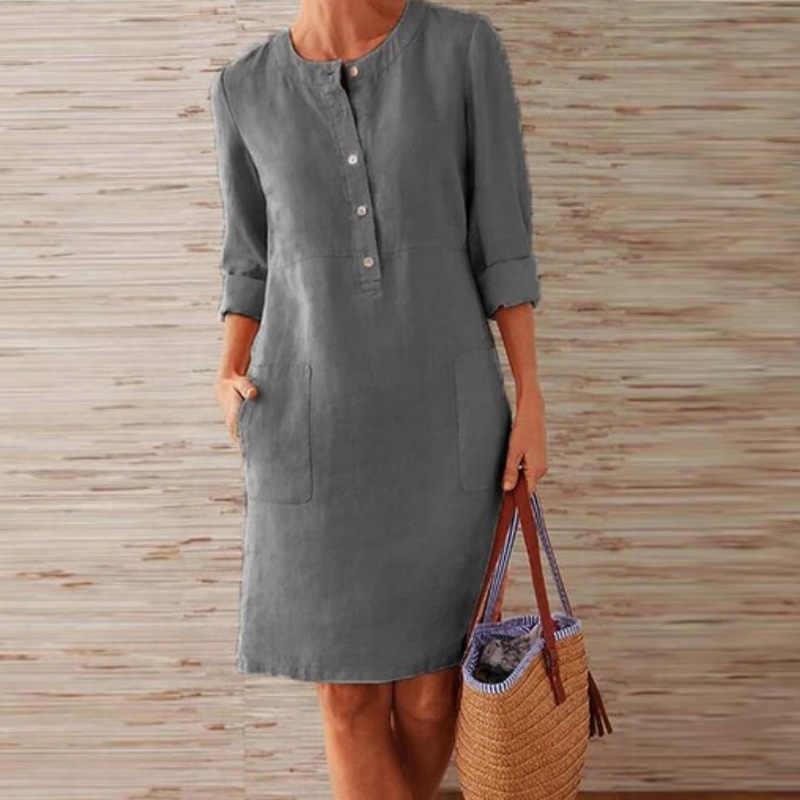 Lipswag 秋エレガントなコットンリネン膝のドレスの女性ボタン O ネックパーティードレスカジュアル長袖ポケットドレスプラスサイズ S-5XL