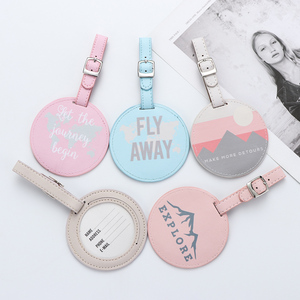 1Pc Suitcase Luggage Tag Leather Round Mr&Mrs Embroidery Label Bag Pendant Handbag Name ID Address Tags Gifts Travel Accessorie