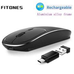 Bezprzewodowa mysz ładująca  mysz ergonomiczna 2.4 GHz  wyciszona ultracienka mysz typu mini tablet  przenośna mysz ze stopu aluminium.