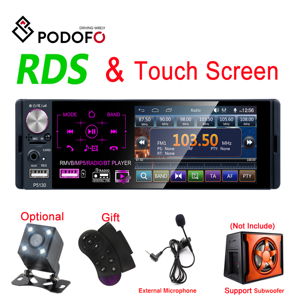 Podofo RDS Car Radios 4.1 Touch Screen Multimedia MP5 Player Auto Stereo Radio Bluetooth Support Micophone and Rear View Camera image