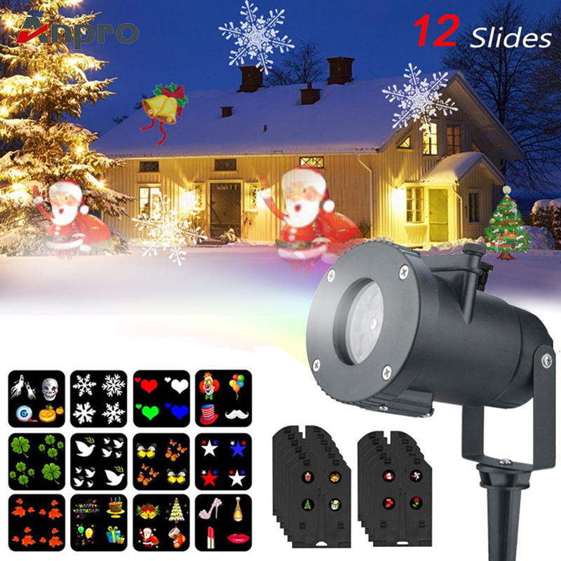 Anpro 12 Pattern Outdoor Waterproof LED Christmas Snowflake Projector Lamp Spotlight Birthday Halloween Wedding Projector Lights