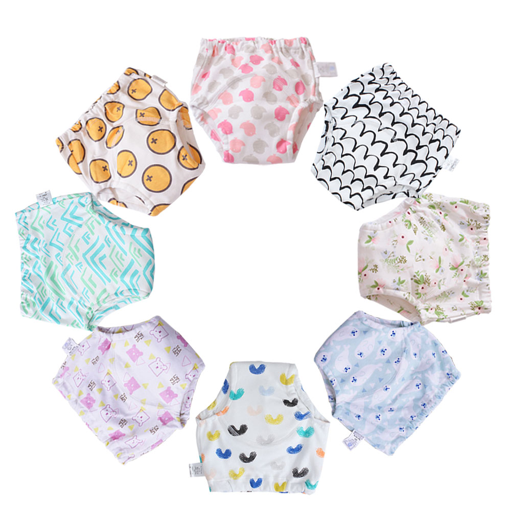 Whosale 30 Pcs Reusable Potty Training Pants Baby Toilet Trainer Waterproof Cotton Kids Children Cloth Panties Diaper Underwears