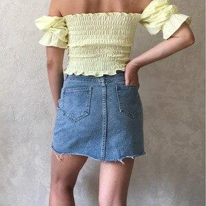 Image 3 - Hzirip yaz moda yüksek bel etekler bayan cepler düğme kot etek kadın Saias 2020 yeni tüm uyumlu günlük kot etek