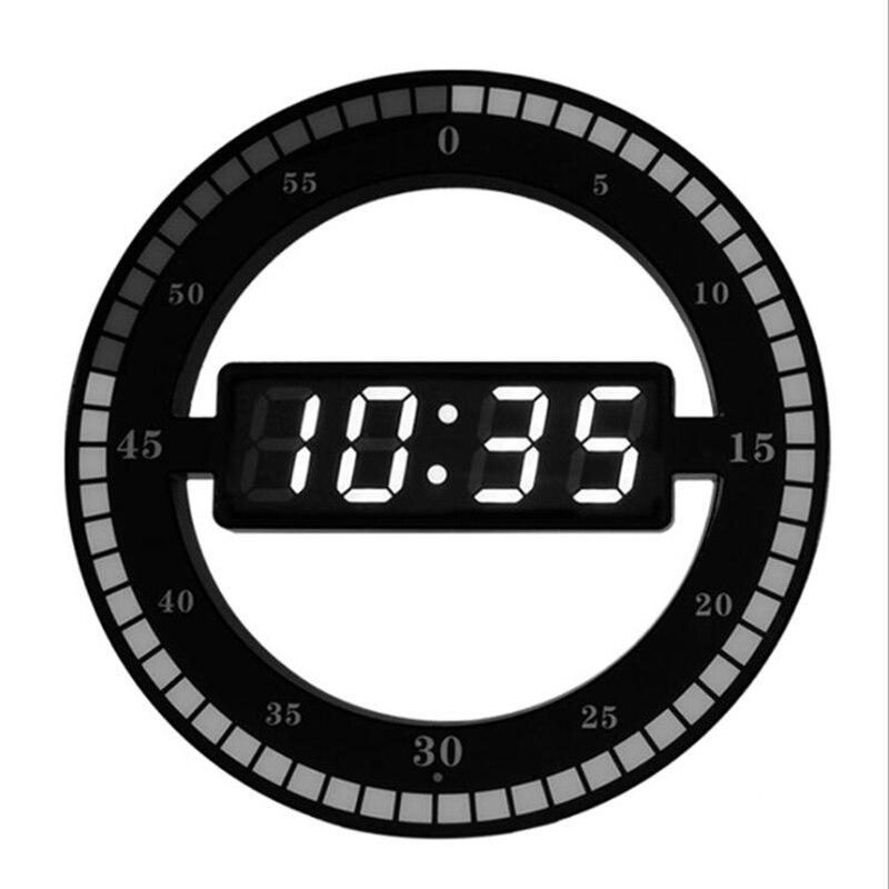 3D LED Digital Wall Clock Electronic Night Glow Round Wall Clocks Automatically Adjust Brightness Desktop Clock EU Plug