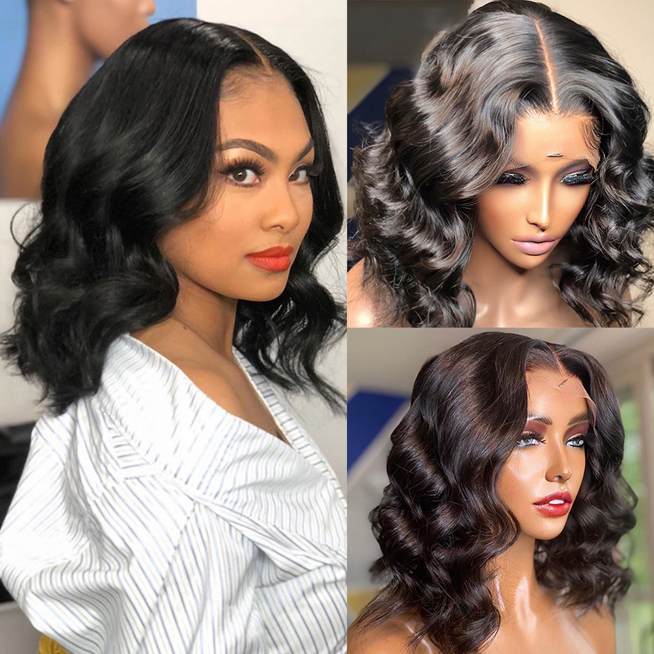 Short Bob Closure Wig Body Wave 13x5x1 Lace Front Human Hair Wigs for Black Women Brazilian Natural Pre Plucked Hairline Remy