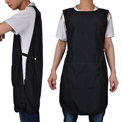 Black Sleeveless Apron With Big Capacity Pocket Front-Back Double-Sided Salon Hairdressing Cutting Apron For Barber Hairstylist