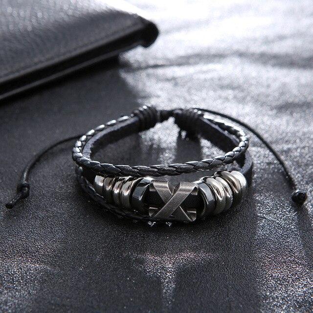 YADA cadeaux rétro alliage X lettre Bracelets et Bracelets pour hommes tressé en cuir Bracelets charme amitié bijoux Bracelet BT200076