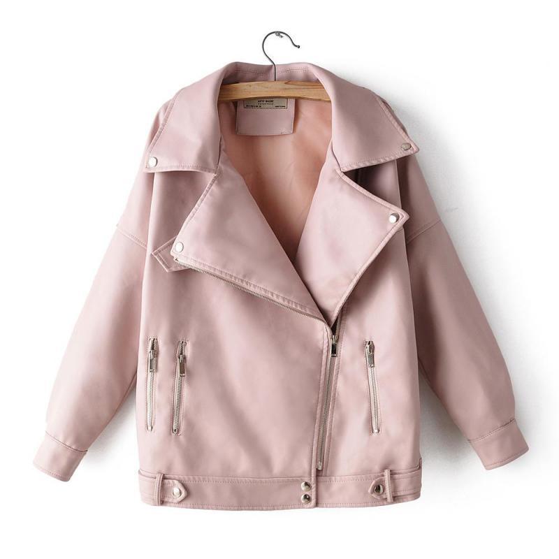 2019 New Fashion Womens Zipper Pu   Leather   Jacket Autumn High Street Female Locomotive Washing   Leather   Coats Slim Jackets