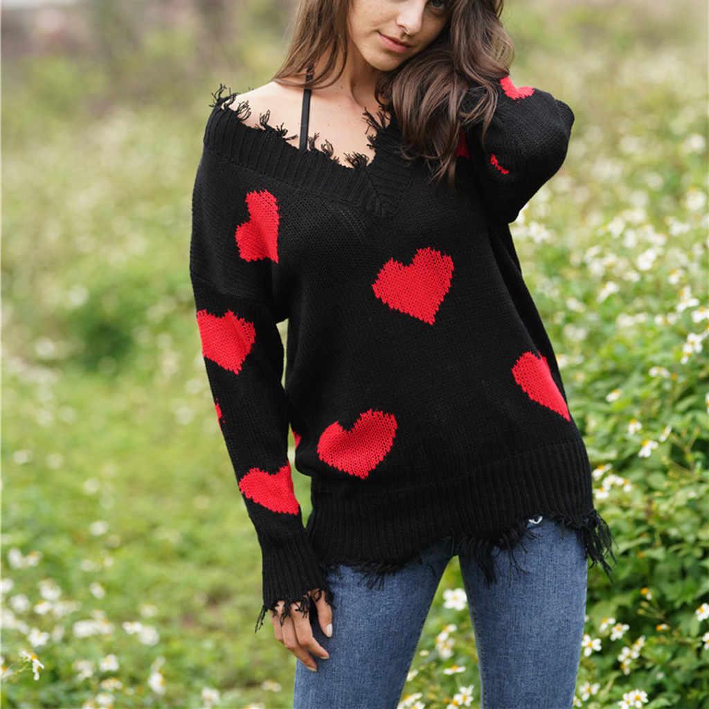 7 цветов, вязаный свитер с кисточками и v-образным вырезом для женщин и девочек, вязанная блузка с узором в виде сердца, Модный женский пуловер, топы, свитера