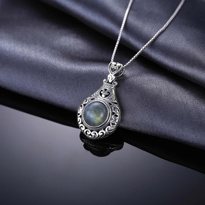 JPalace corazón labradorita Natural colgante collar 925 plata esterlina piedras preciosas gargantilla declaración collar mujeres