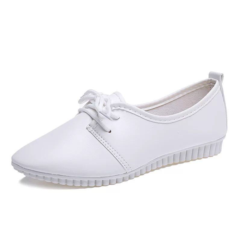 White Nurse Shoes Lace-up Flats Casual Hospital Medical Shoes Woman Comfortable Pointed Toe Ladies Flat Shoes XKD1134 image