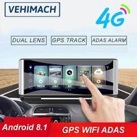 4G Dash Cam Wifi GPS Per Auto DVR Android 8.1 ADAS Bluetooth 1080P del Cruscotto di Navigazione Auto Video Recorder macchina fotografica Parco Monitor