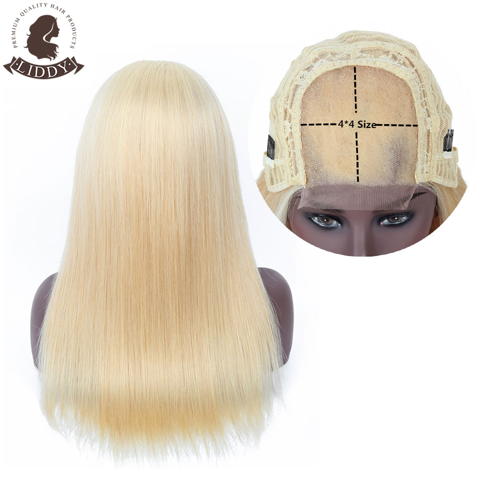 Liddy 4*4 Straight Colored 613 Blonde 100% Human Hair Wigs Lace Closure Human Hair Wigs For Black Women Non-remy 150% Density