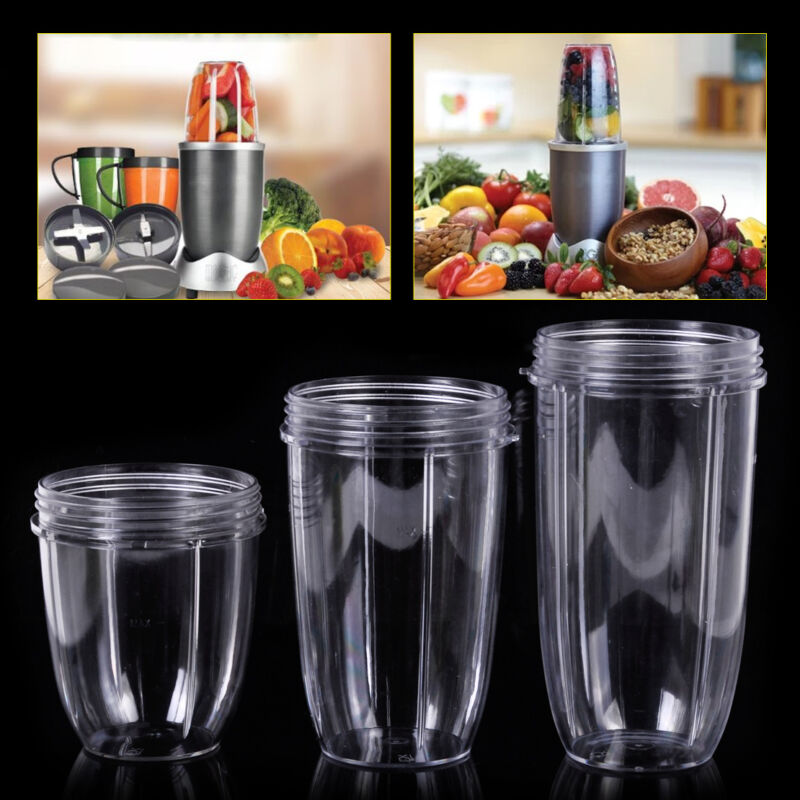 32 Oz Colossal +24 Oz Tall +18oz Small Cup Replacement Cups 3 Lids For Nutribullet Fruit Juicer Parts Kitchen Appliance