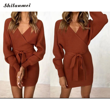Women Elegant Sweater Dress 2019 Autumn Winter Knitted Bodycon Dresses Women Long Sleeve V Neck Casual Mini Dress With Belt vestidos elegant sweater dress women v neck warm knitted autumn casual winter dresses women 2016 plus size lj7214t