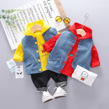 New Fashion Cute Hoodie Pants Vest Three-piece Boy Sets Korean Style Cartoon Pattern Striped Children 0-3T Baby Clothes