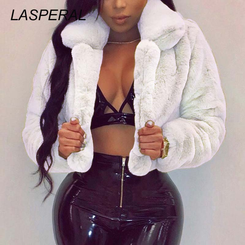 LASPERAL Winter Warm Fluffy Faux Fur Coats Jackets Women Furry Fake Fur Cropped Jackets Turn Down Collar Open Front Overcoats