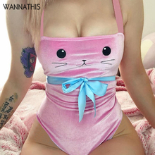 WannaThis Cartoon Cat Print Pink Bodycon Bodysuit Reflective Velvet Elastic Slim Strap Bow Bandage Women Sexy