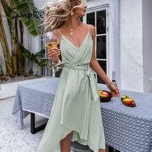 Simplee Casual verde cuello Honda midi vestido de mujer asimétrico cinturón vacaciones vestido de verano sin mangas vestido de oficina vestido