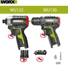 Worx 12v Brushless Motor Cordless Impact Screwdriver WU132 140Nm Cordless Drill WU130  Adjust Torque professional tool Combe Set