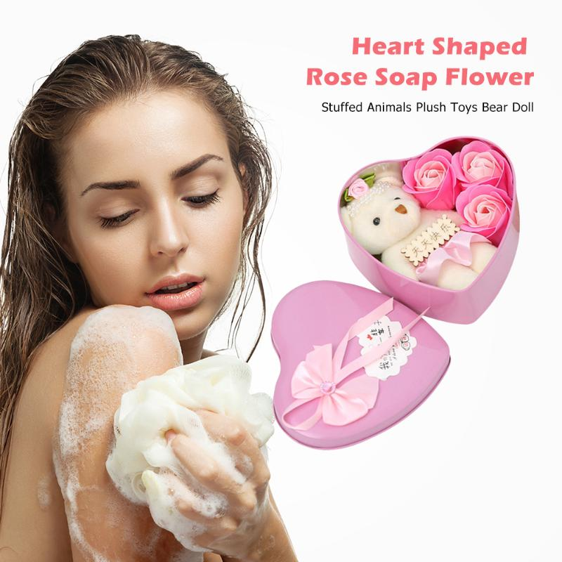 Romantic Heart-shaped Box Rose Soap Exquisite And Delicate Design Appearance Flower Bear Doll Wedding Decoration Gift Box