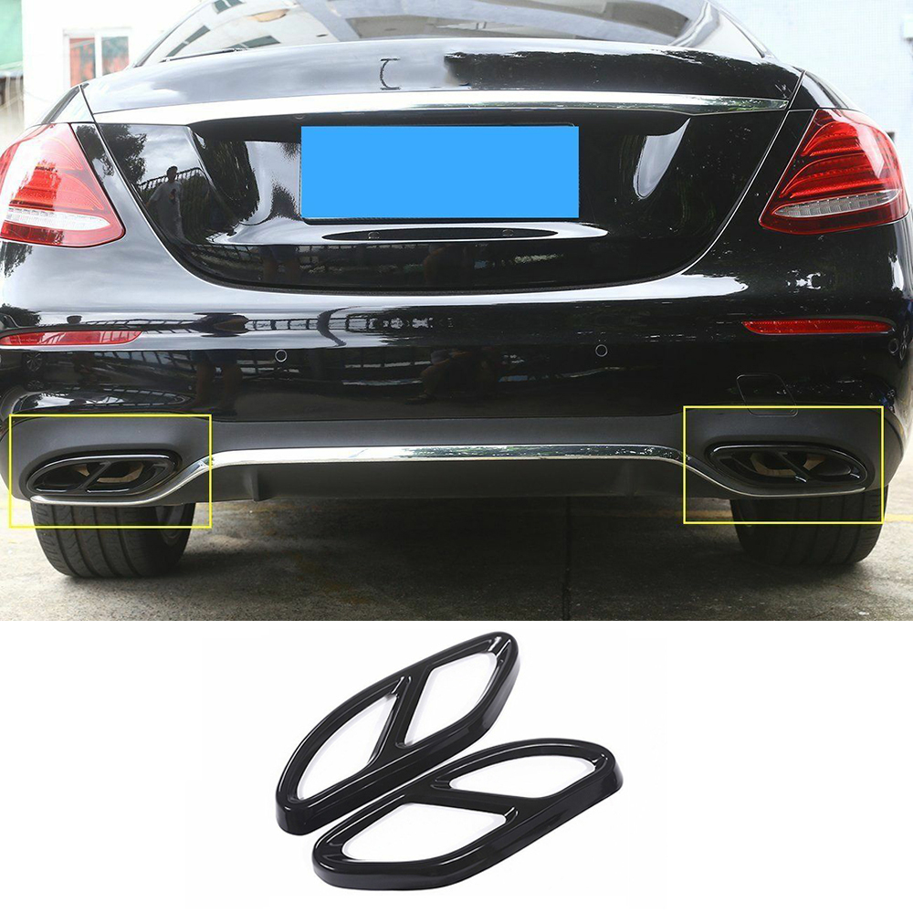 2* Exhaust Tail Pipe Cover Trims Silver for Mercedes Benz GLC C E-Class C207