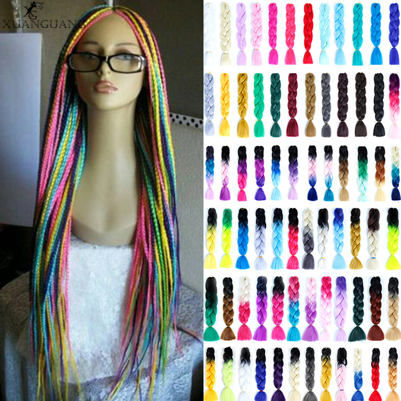 XUANGUANG 24 Inches Colorful Jumbo Braids Long Ombre Synthetic Braiding Kanekalon Hair Extensions Crochet White Black Women