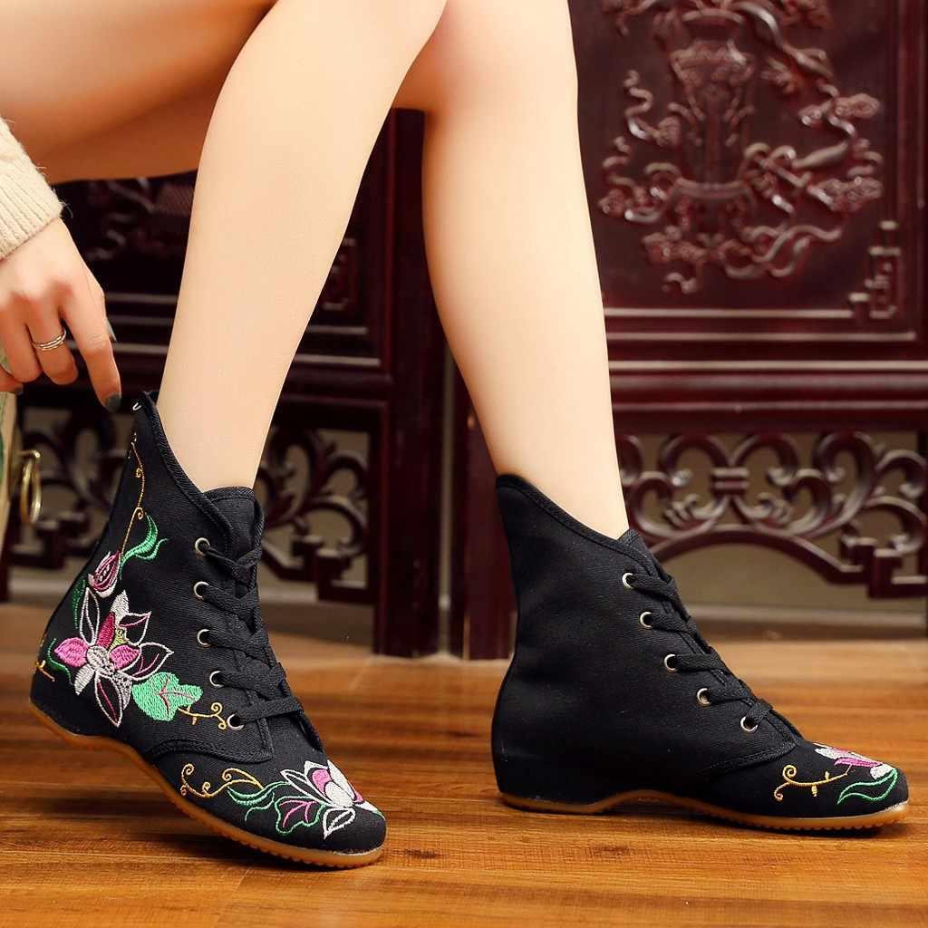 ผ้าใบสไตล์จีนผู้หญิงฤดูใบไม้ร่วงดอกไม้ปักสั้น Boot Elegant Lady รองเท้าส้นสูง Lace Up รองเท้าสบายๆคลาสสิก vintage