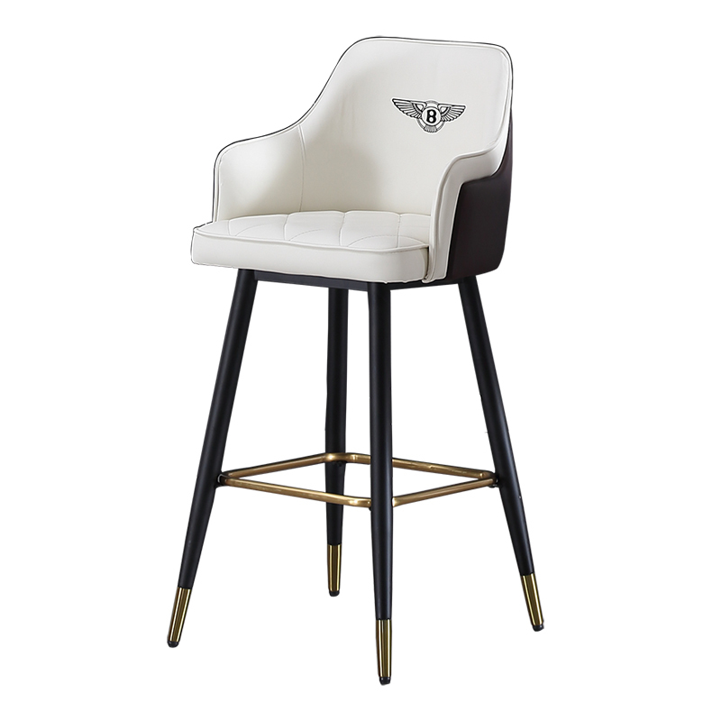 Nordic Bar Chair Light Luxury Modern Minimalist High Chair Bentley Bar Chair American Wrought Iron High Stool High Back