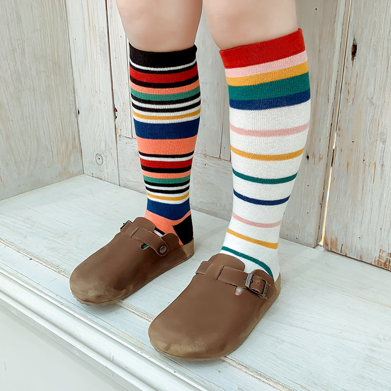 2019 Spring New Style CHILDREN'S Socks Baby Multi-color Stripe Tube Socks Europe And America Fashion-Design Stockings