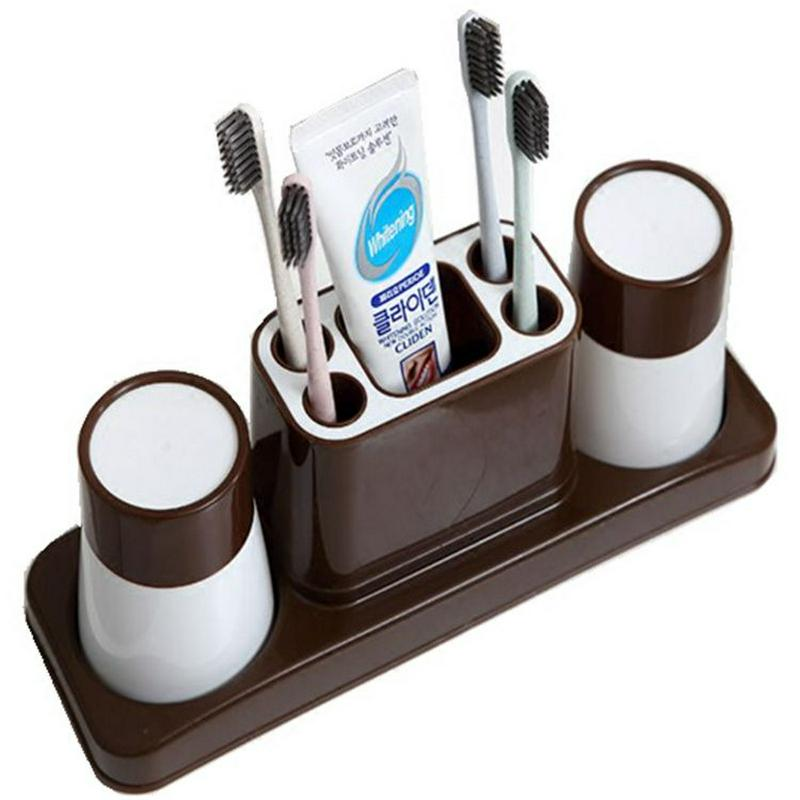 New Multifunctional Toothpaste Cup Toothbrush Holder Two/Three Creative Wash Brush Cup Bathroom Accessories Comb Holder