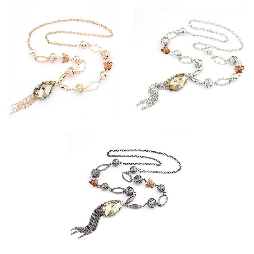 Femme Fashion Elegant Charm Crystal Chunky Statement Bib Pendentif chaîne Collier
