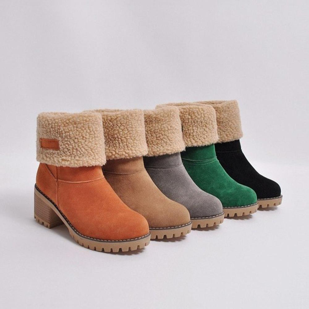 Women Winter Snow Boots Fur Warm Ankle Ladies Boots Slip On Flock Thick Heel Shoes Botas Martins Plush Outdoor Female Boots