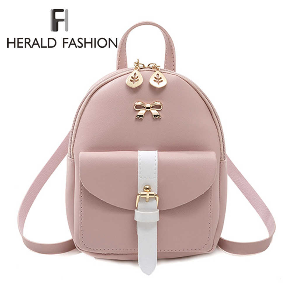 Herald Fashion Small Women Backpack Mini Panelled School Book Bag for Teenage Girls Female Soft Leather Travel Backpack Mochila