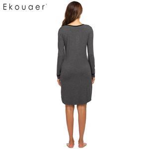 Image 5 - Ekouaer נשים סתיו כתונת לילה Nightwear Sleepshirts שמלת O צוואר ארוך שרוול כפתור טלאי אביב הלבשת לילה שמלה