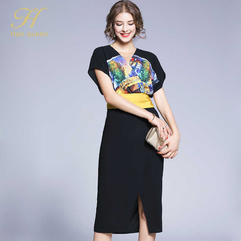 H ハン女王新フレンチスタイル V ネックプリントヴィンドレス仕事カジュアルファッション女性スリムセクシーなペンシルドレスパーティーボディコン vestido