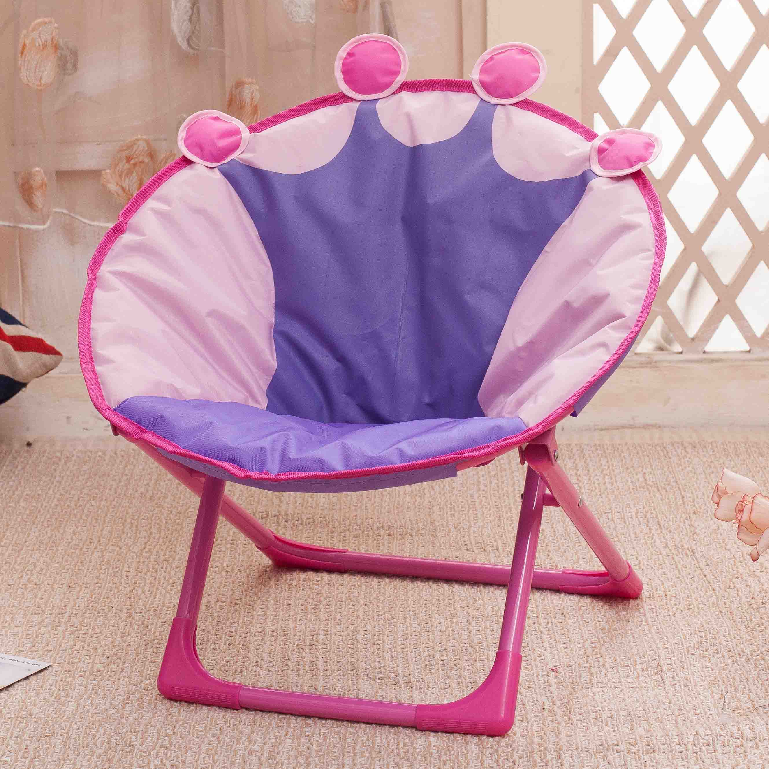 Children Folding Beach Chair Small Moon Recliner Baby Cartoon Backrest Chair Non-slip Wear-resistant Exquisite Workmanship