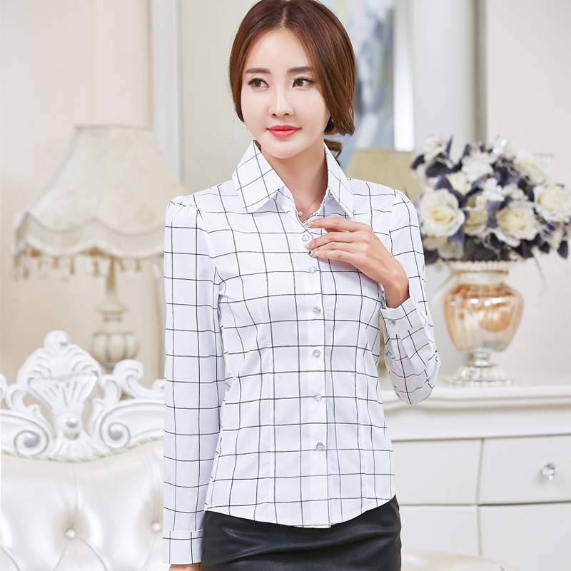 Korean Fashion Chiffon Women Blouses Plaid Vintage Long Sleeve Office Lady Shirt and Blouse Plus Size XXL Women Tops and Bloues