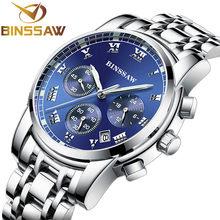 Binssaw novo 2020 dos homens de quartzo aço inoxidável moda relógio esportivo calendário luminoso original marca luxo relogio masculino