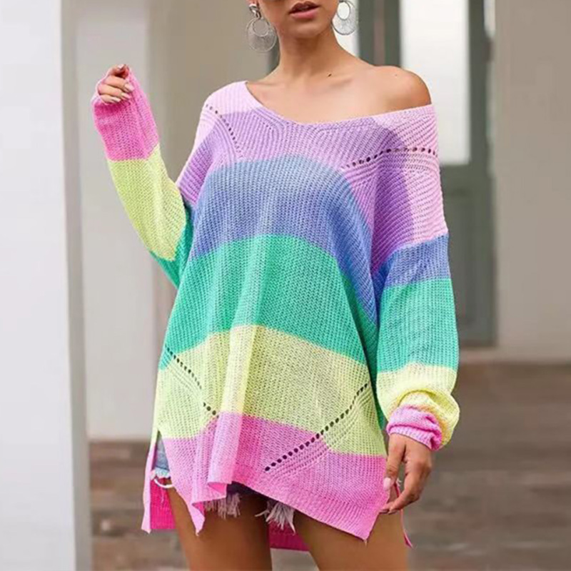 Fashion Style Sexy V-neck Color Sweater Casual Loose Colorful Stripe Pattern Knit Pullover  Long-sleeved Sweater
