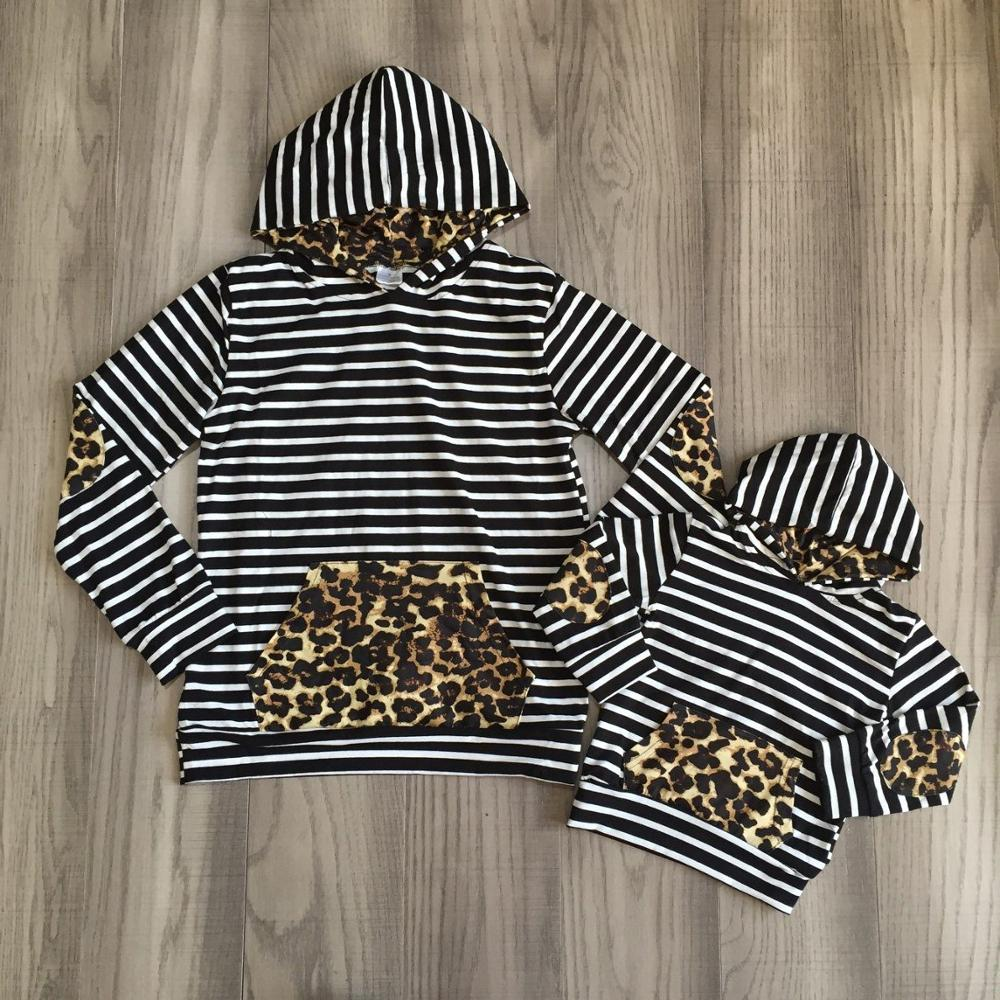 Mom And Me Clothes Baby Girls Black White Stripe Hoodie With Leopard Print Hat And Pocket Kids Boutique Cotton Hoodie