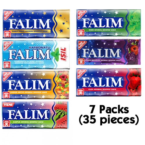 Falım Sugarless Chewing Gum Best Sugar Free Chewing Gum Sugar Free Gum 7 Packs ( 7x5 = 35 Pieces)