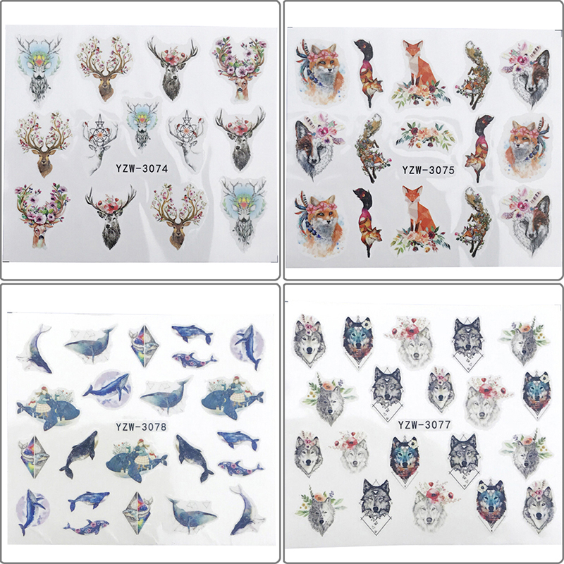2Pc Nail sticker art decoration slider wolf adhesive design water decal manicure in Stickers Decals from Beauty Health